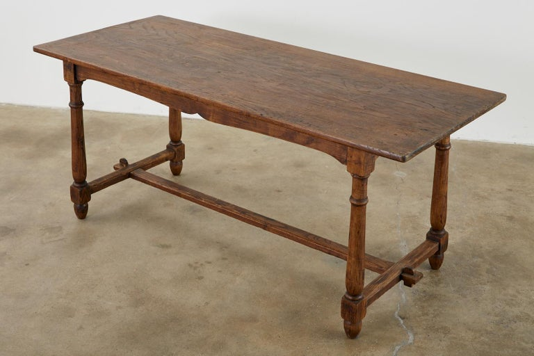 Hand-Crafted Country English Provincial Oak Farmhouse Trestle Dining Table For Sale