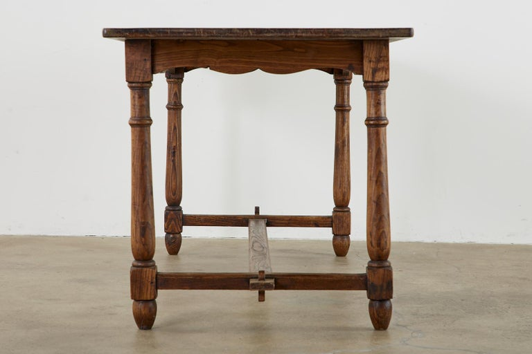 Country English Provincial Oak Farmhouse Trestle Dining Table In Good Condition For Sale In Oakland, CA