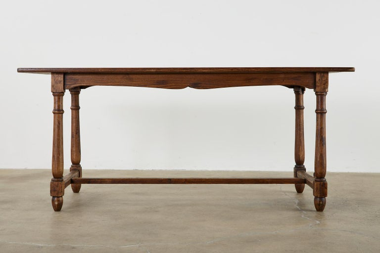 20th Century Country English Provincial Oak Farmhouse Trestle Dining Table For Sale