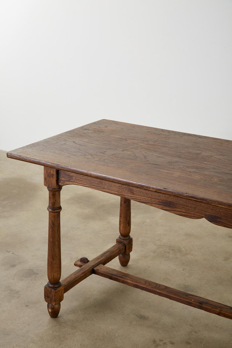 Country English Provincial Oak Farmhouse Trestle Dining Table For Sale 1