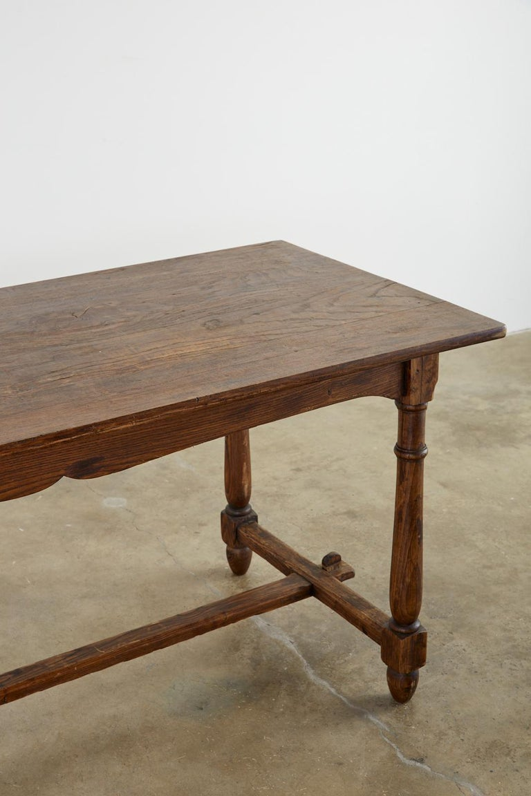 Country English Provincial Oak Farmhouse Trestle Dining Table For Sale 2