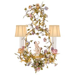 Country French 19th Century Louis XVI Style Metal and Saxe Porcelain Chandelier