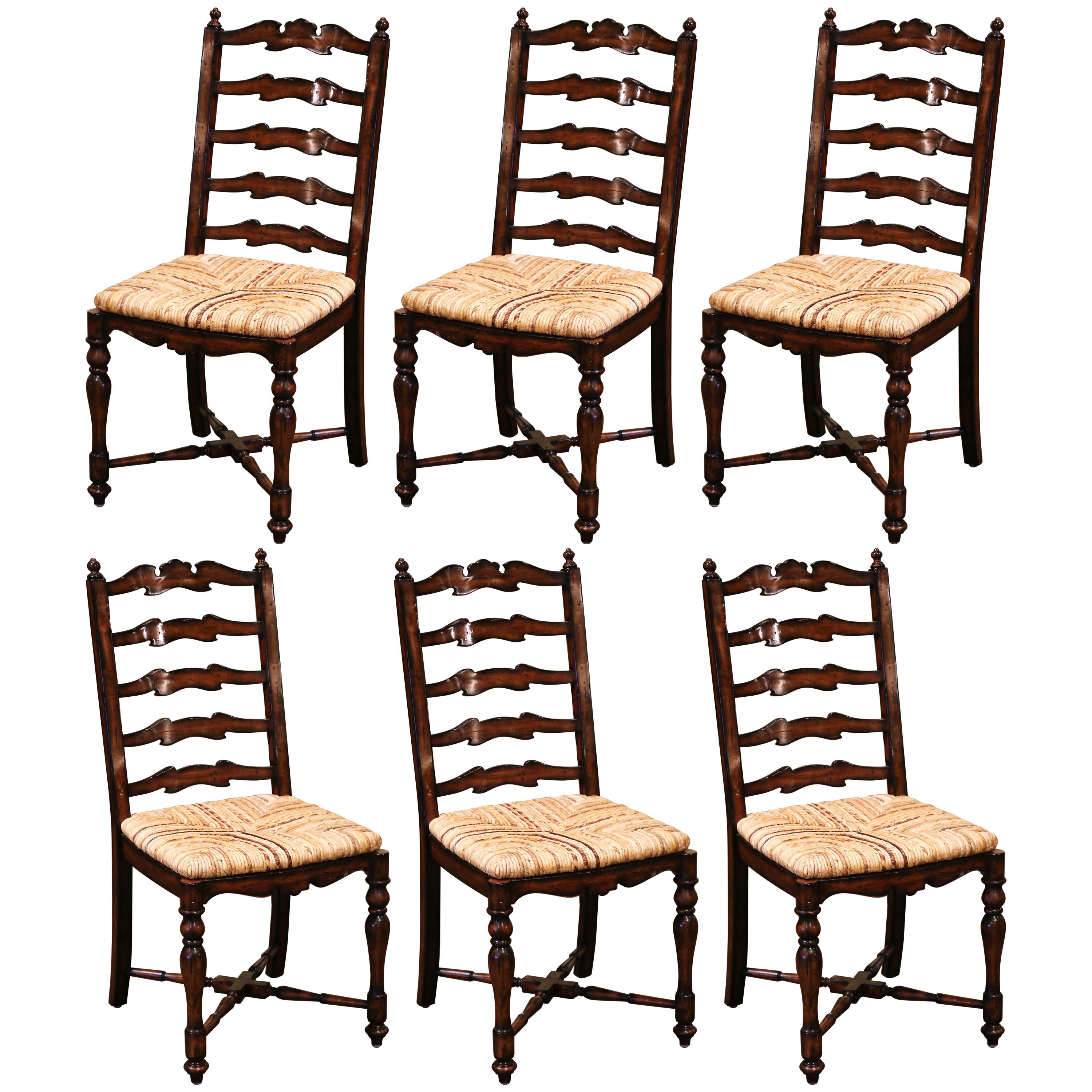 Country French Carved Walnut Ladder Back Chairs with Rush Seat, Set of Six
