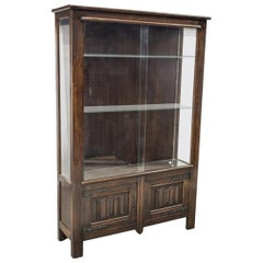 Country French Carved Oak Vitrine Display Cabinet Linenfold Panels, ca. 1900