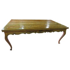 Solid Oak Country French Louis XV Dining Room Table Attributed to Don Rousseau