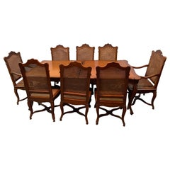 Dining Table and Eight Chairs, Dining Room Set Country French Custom Quality