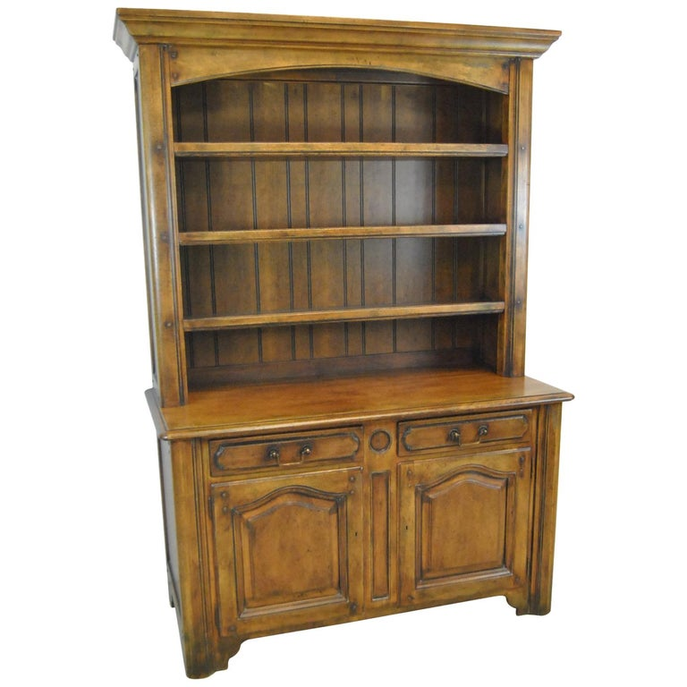 Country French Distressed Cherry Open Cupboard by Ralph Lauren For Sale