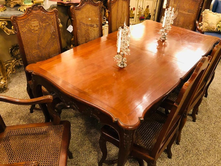 Country French Extension Table Hand Carved For Sale 9
