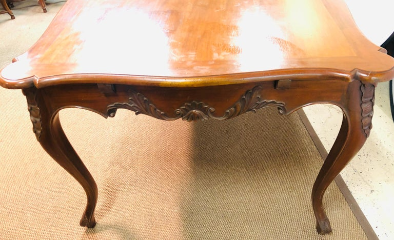 Louis XV Country French Extension Table Hand Carved For Sale