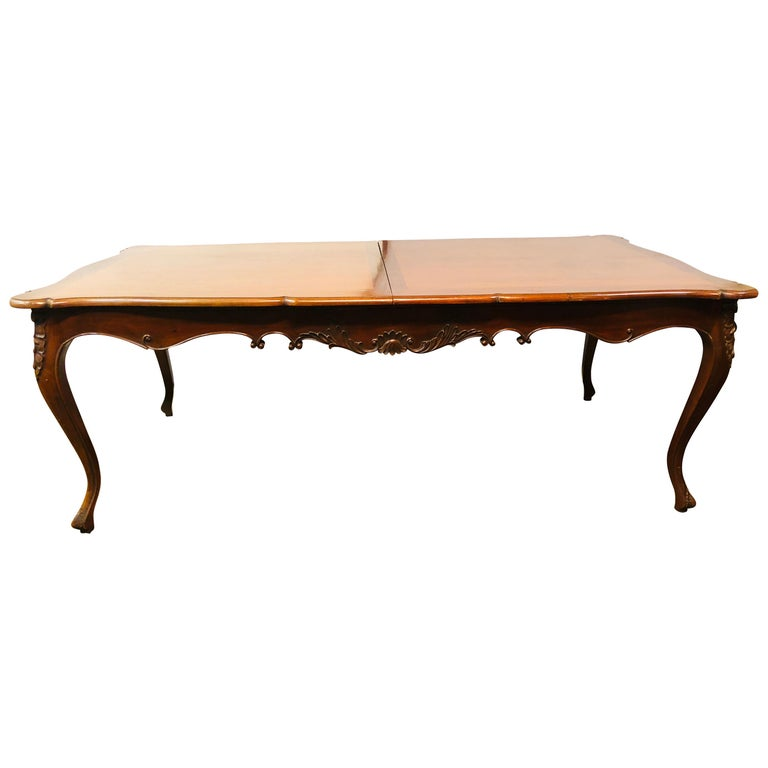 Country French Extension Table Hand Carved For Sale