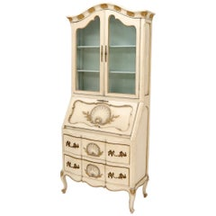 Country French Gold Decorated Scollop Carving Drop Front Secretary Desk Bookcase