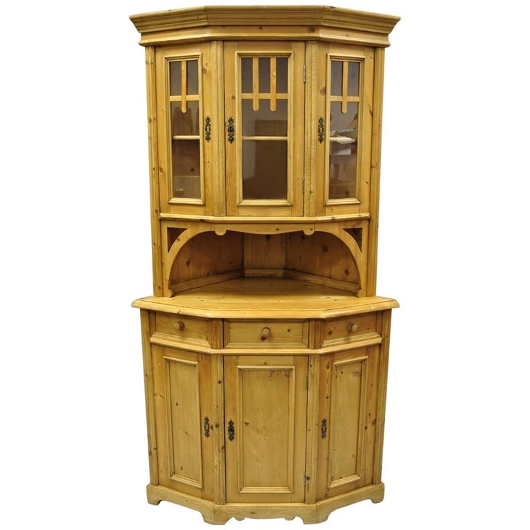 Country French Gothic Primitive Corner China Cabinet Hutch Pine Wood Cupboard For