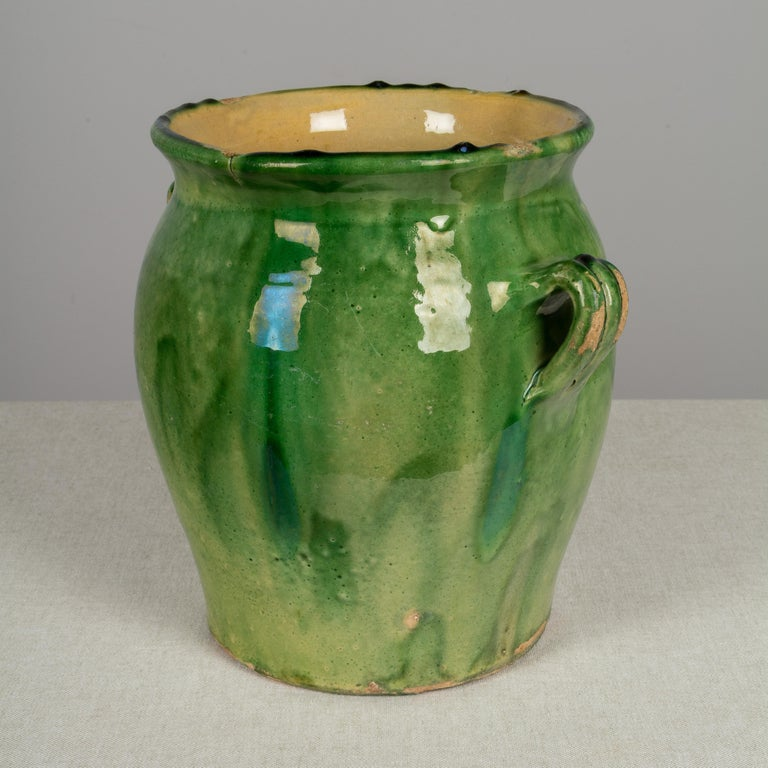 French Provincial Country French Green Glazed Terracotta Pot For Sale