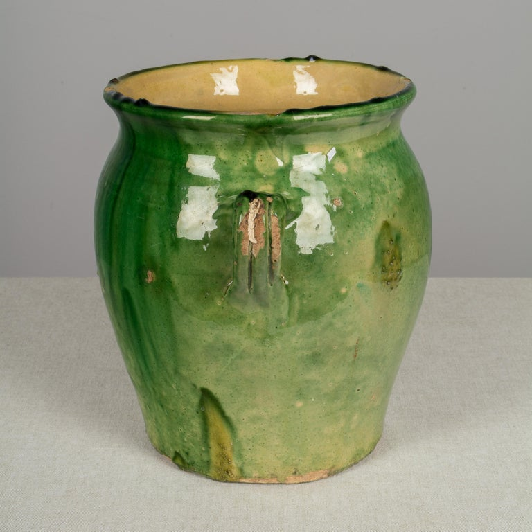 Country French Green Glazed Terracotta Pot For Sale 1