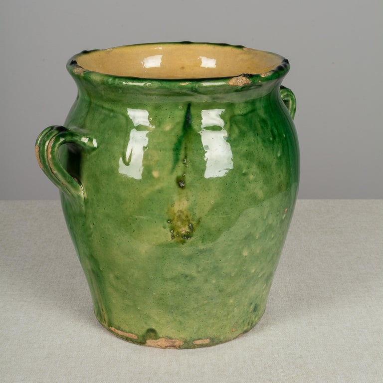 Country French Green Glazed Terracotta Pot For Sale 2