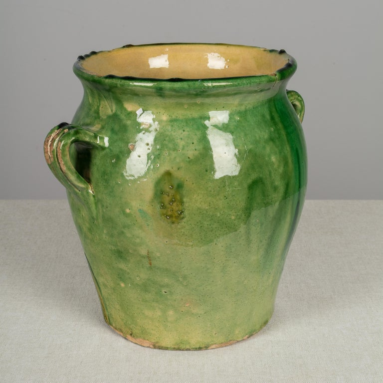 Country French Green Glazed Terracotta Pot For Sale 3