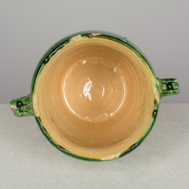 Country French Green Glazed Terracotta Pot For Sale 4