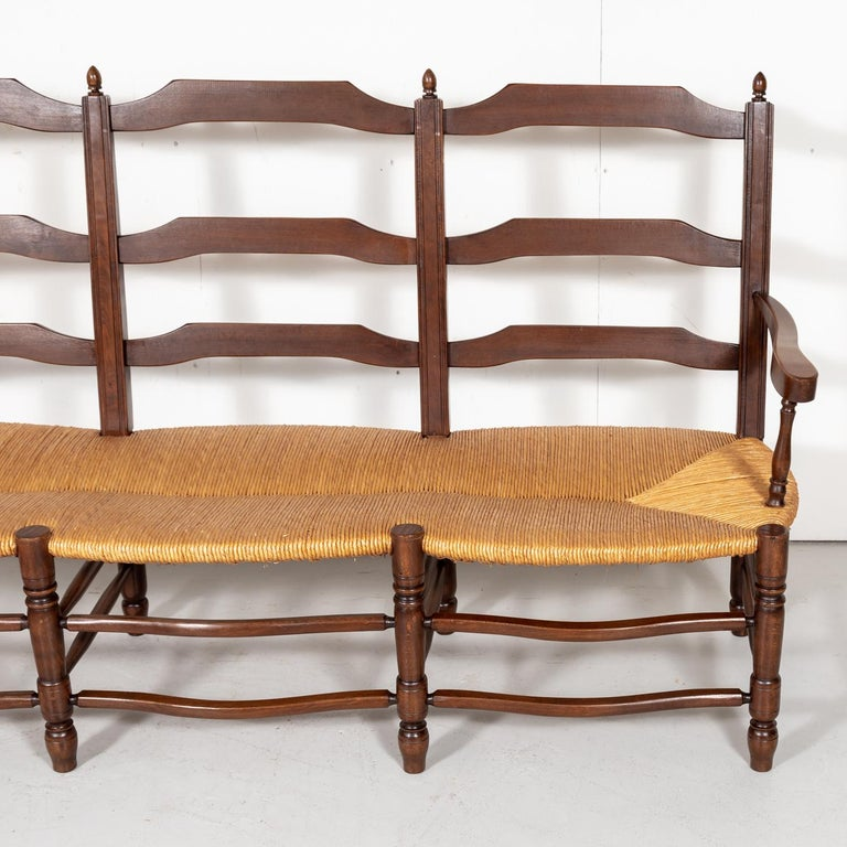 Country French Ladder-Back Walnut Settee or Radassier with Rush Seat For Sale 2