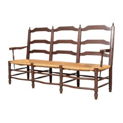 Country French Ladder-Back Walnut Settee or Radassier with Rush Seat