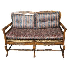 Rush Seat Distressed French Louis XV Provincial Settee Window Bench