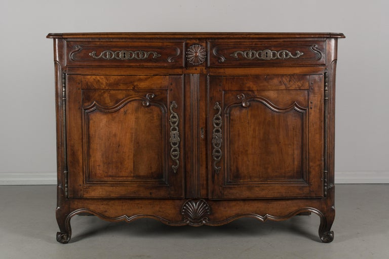 Hand-Carved Country French Louis XV Style Buffet or Sideboard For Sale
