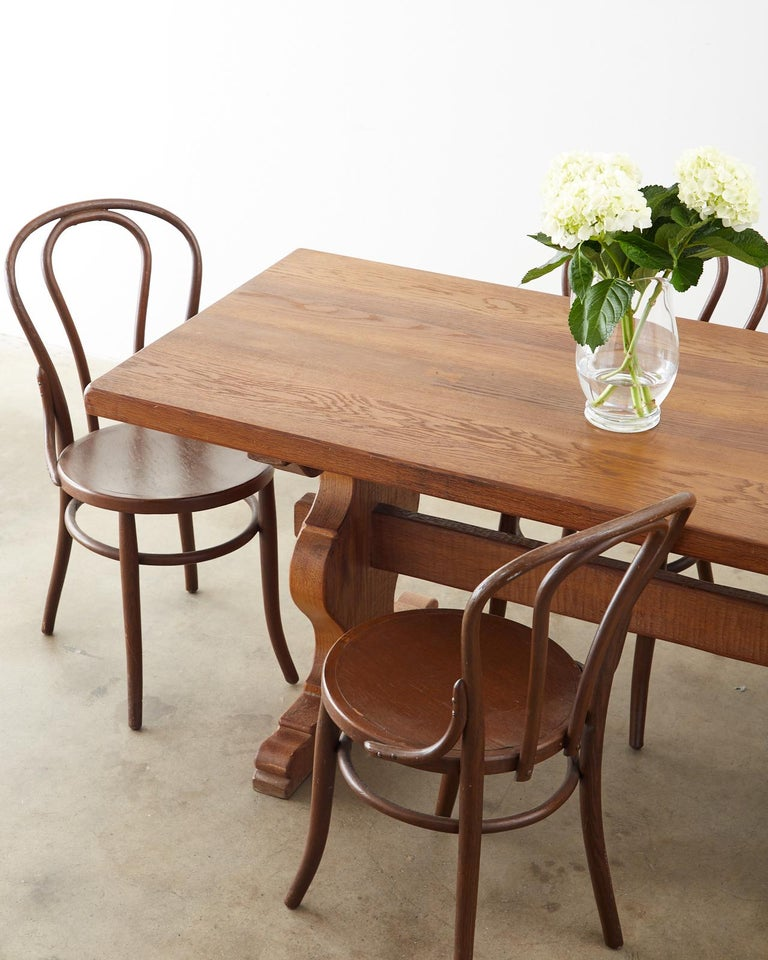 Country French Oak Farmhouse Trestle Dining Table For Sale 6