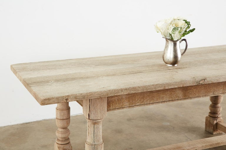 Country French Oak Farmhouse Trestle Dining Table For Sale 9