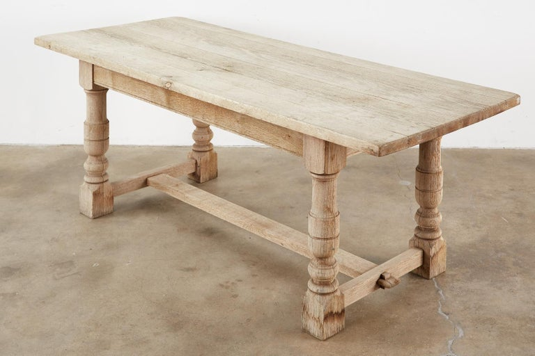 Hand-Crafted Country French Oak Farmhouse Trestle Dining Table For Sale