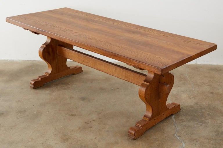 Country French Oak Farmhouse Trestle Dining Table In Good Condition For Sale In Rio Vista, CA