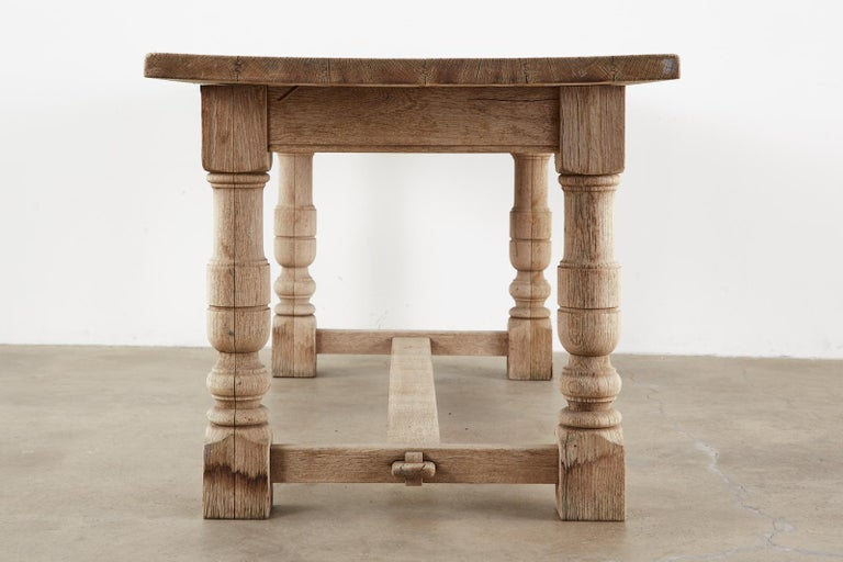 20th Century Country French Oak Farmhouse Trestle Dining Table For Sale