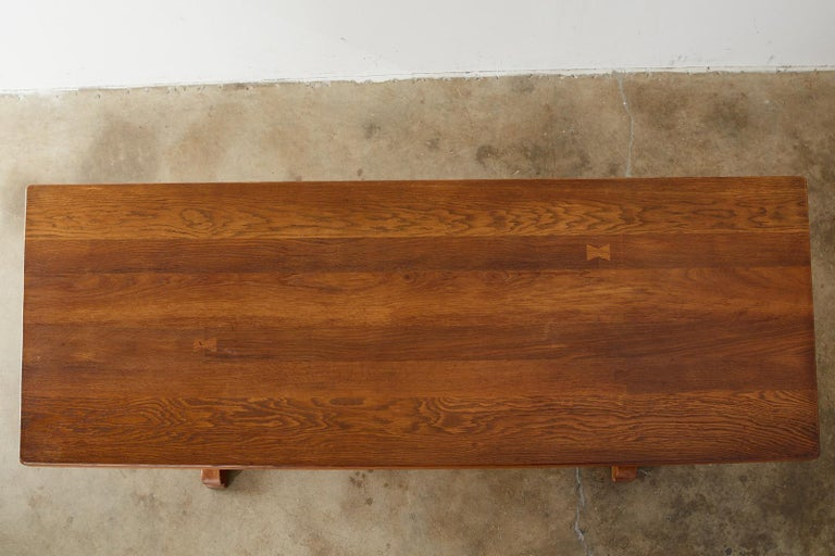 Country French Oak Farmhouse Trestle Dining Table For Sale 2