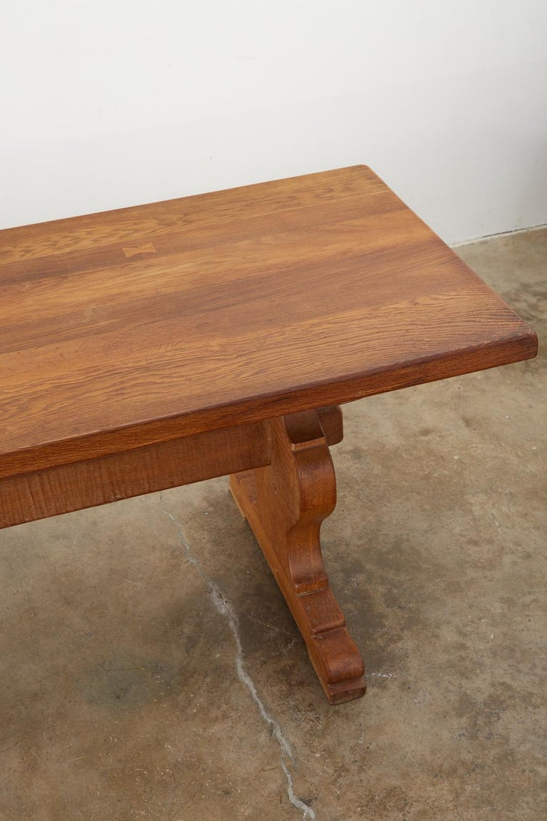 Country French Oak Farmhouse Trestle Dining Table For Sale 4