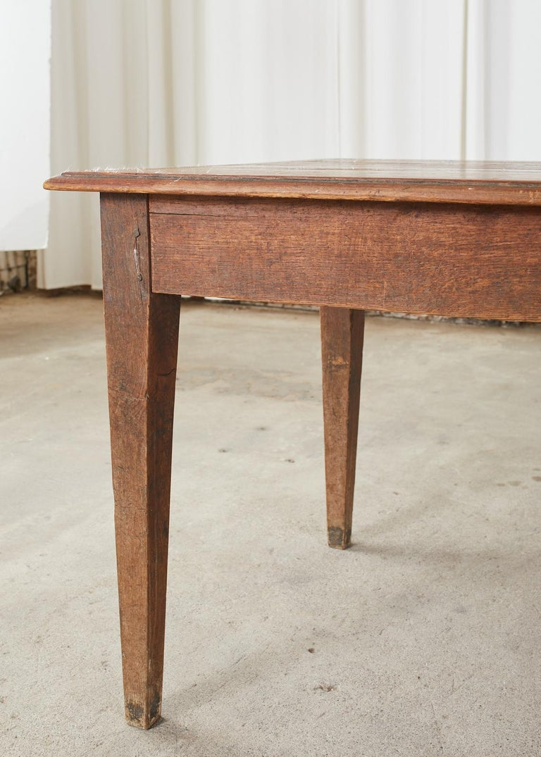 Country French Pine Oak Farmhouse Harvest Dining Table For Sale 5