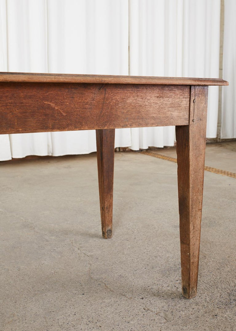 Country French Pine Oak Farmhouse Harvest Dining Table For Sale 8