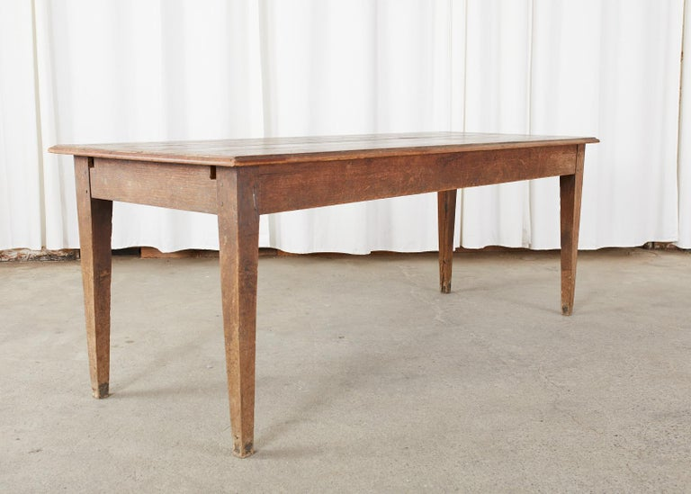 Country French Pine Oak Farmhouse Harvest Dining Table For Sale 11