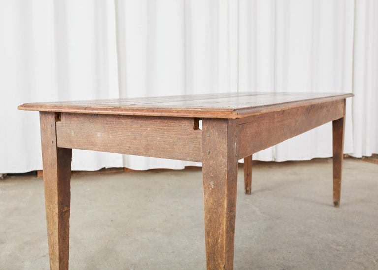 Country French Pine Oak Farmhouse Harvest Dining Table For Sale 12