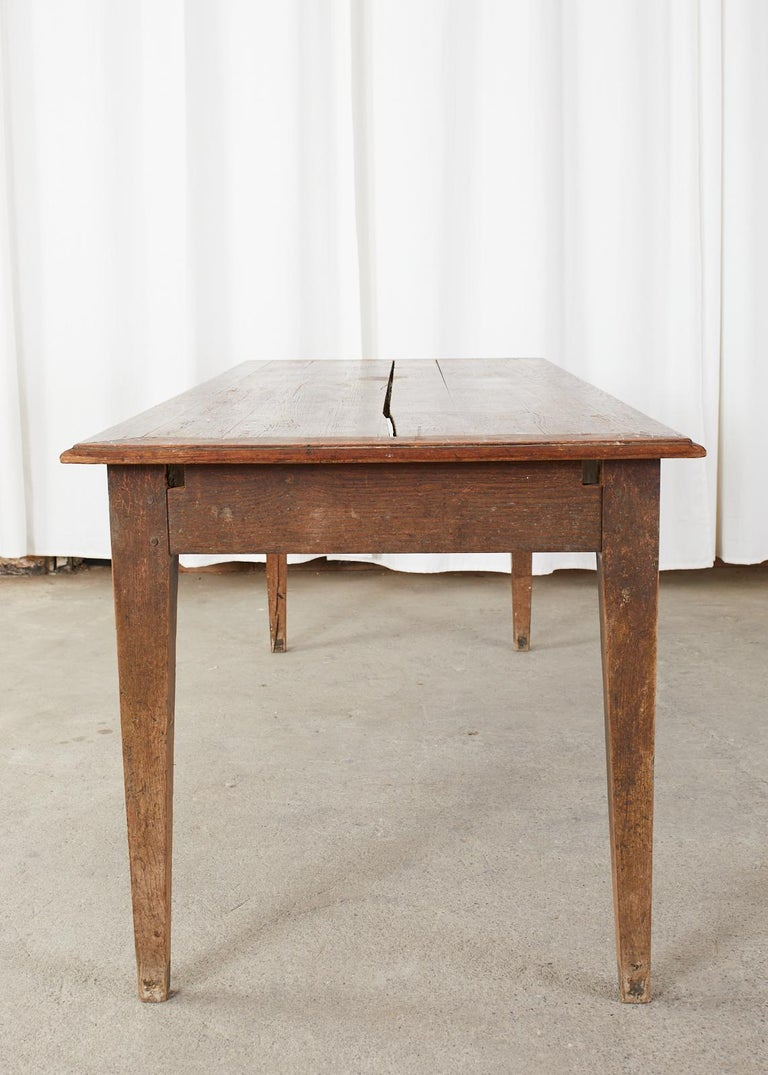Country French Pine Oak Farmhouse Harvest Dining Table For Sale 13