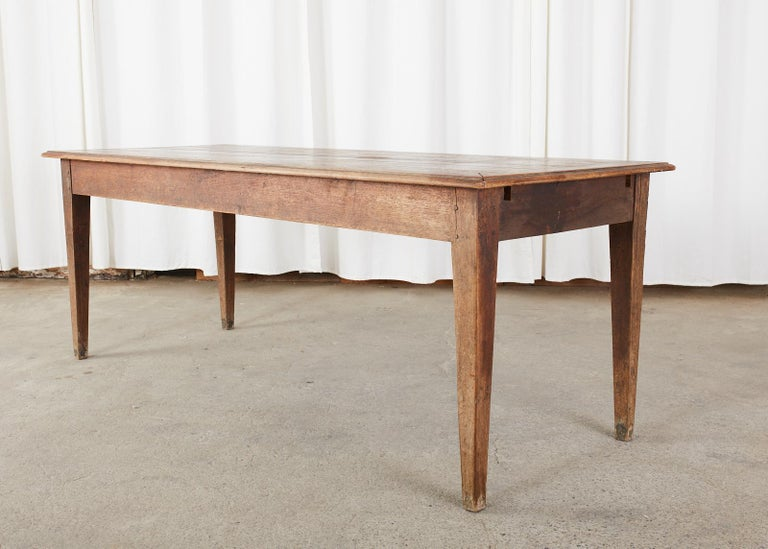 Hand-Crafted Country French Pine Oak Farmhouse Harvest Dining Table For Sale