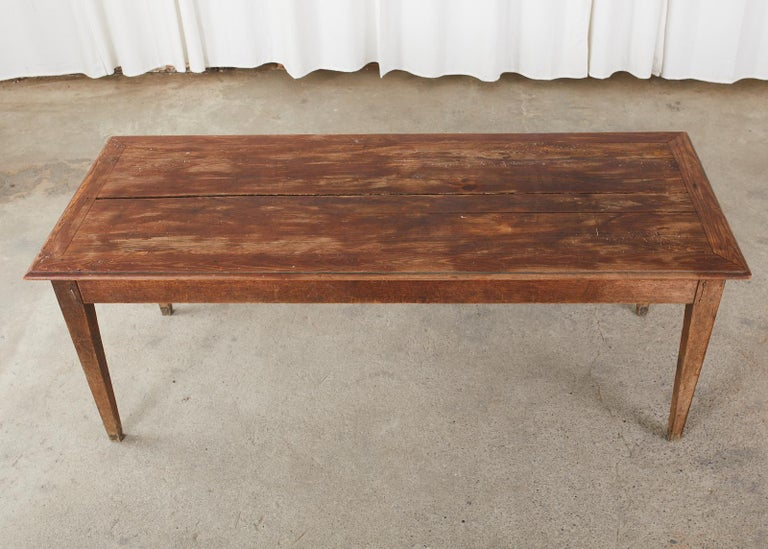 20th Century Country French Pine Oak Farmhouse Harvest Dining Table For Sale
