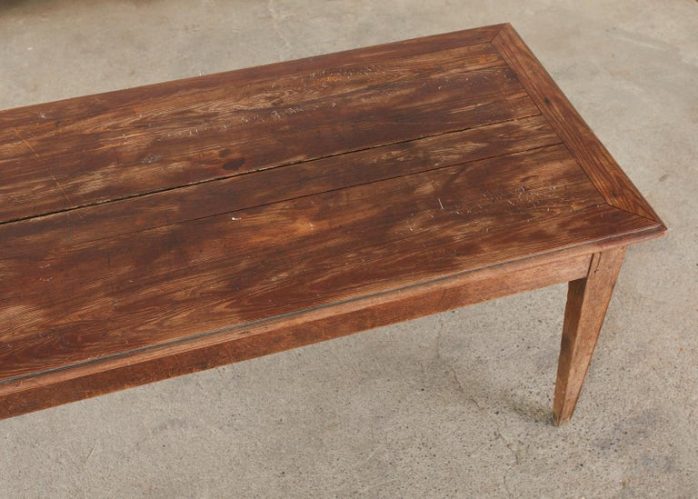Country French Pine Oak Farmhouse Harvest Dining Table For Sale 2
