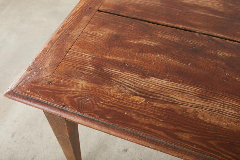 Country French Pine Oak Farmhouse Harvest Dining Table For Sale 3