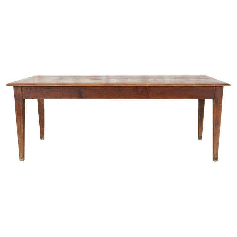 Country French Pine Oak Farmhouse Harvest Dining Table For Sale
