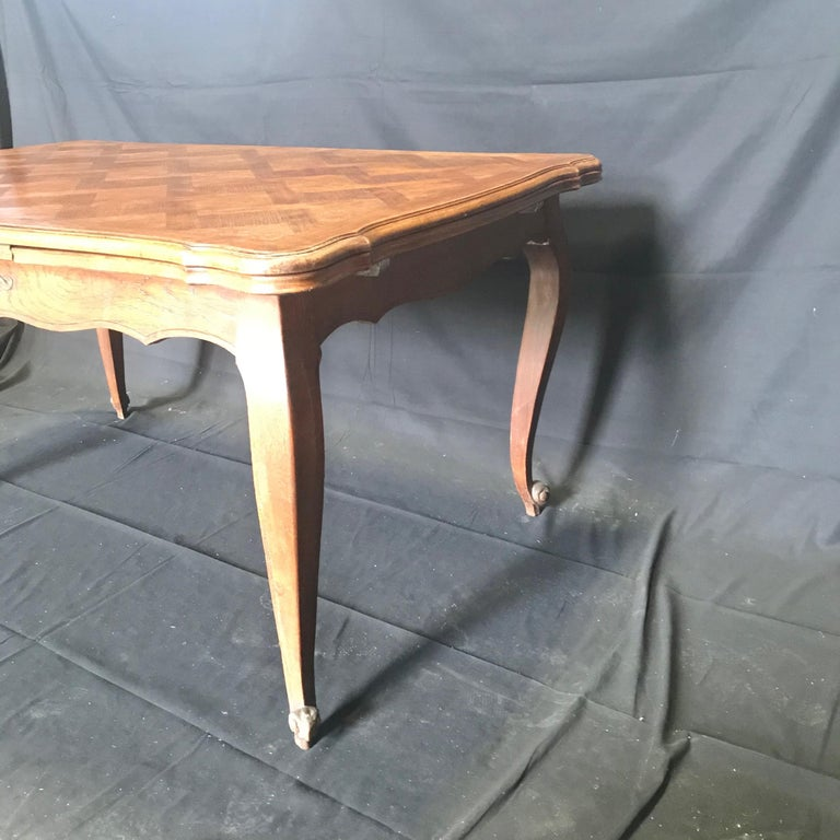 19th Century Country French Provincial Antique Parquetry Oak Extension Dining Table For Sale