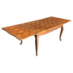 Country French Provincial Antique Parquetry Oak Extension Dining Table