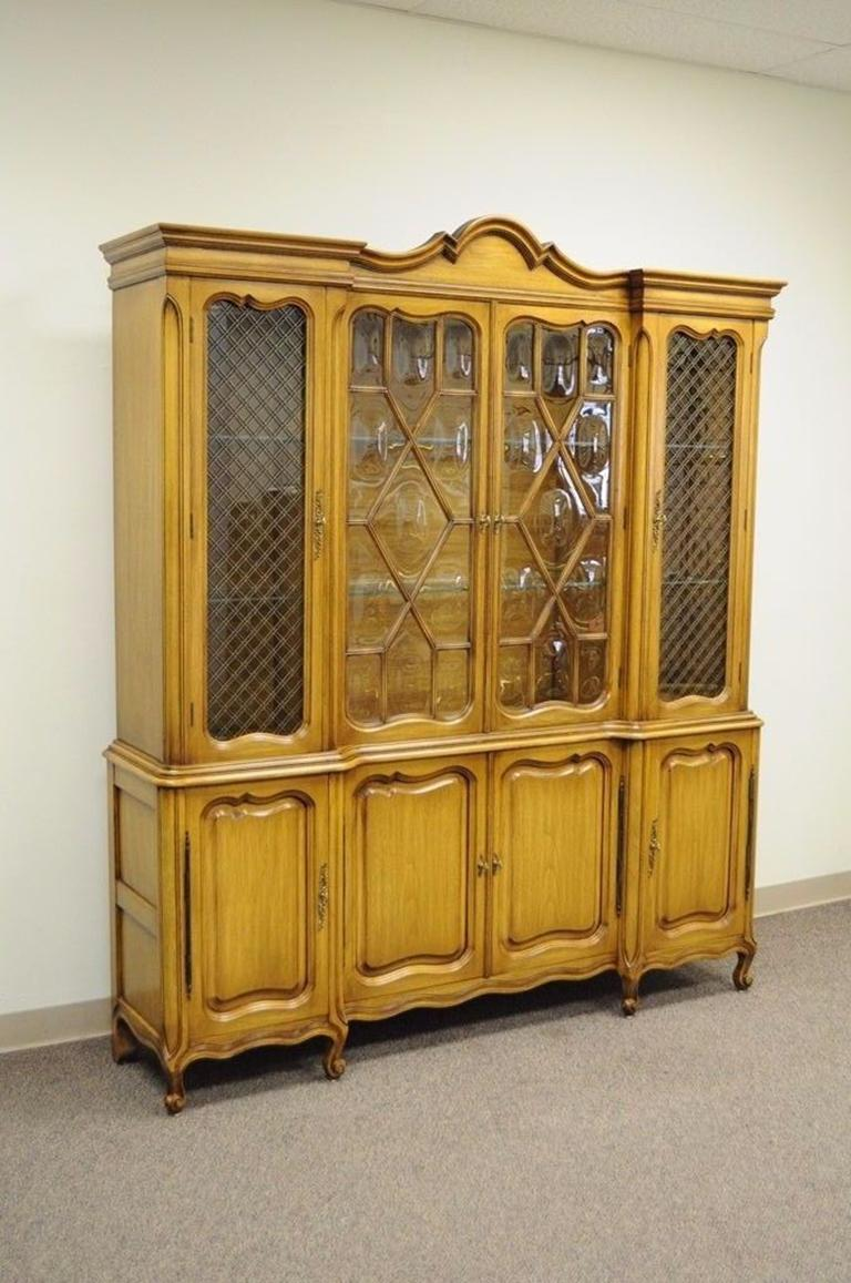 Country French Provincial Breakfront China Cabinet Walnut Fruitwood Bubble Gl For 2