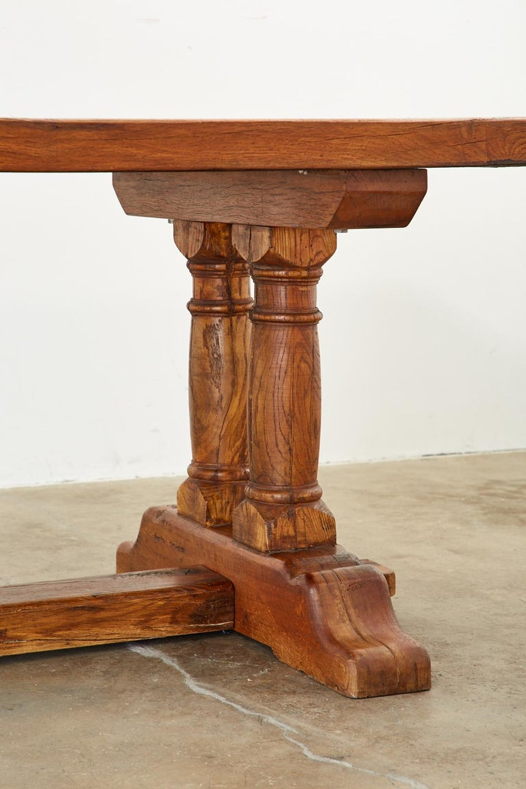 Country French Reclaimed Oak Farmhouse Trestle Dining Table For Sale 5