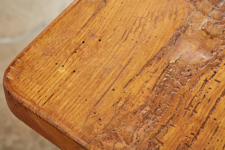 Country French Reclaimed Oak Farmhouse Trestle Dining Table For Sale 10