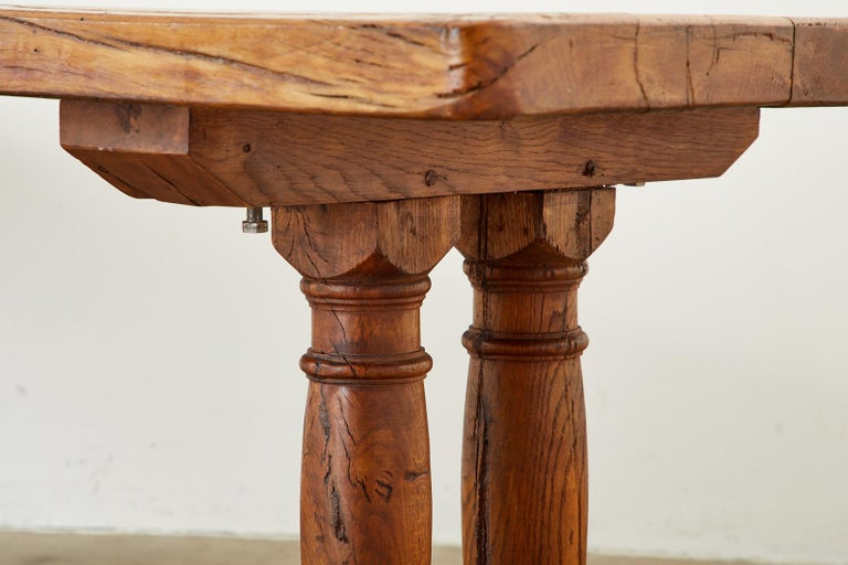 Country French Reclaimed Oak Farmhouse Trestle Dining Table For Sale 12