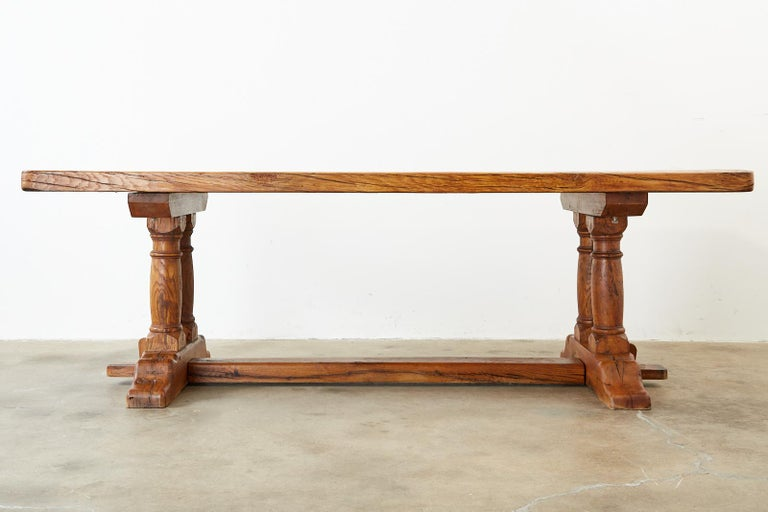 Country French Reclaimed Oak Farmhouse Trestle Dining Table For Sale 15