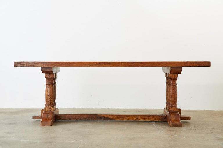 Hand-Crafted Country French Reclaimed Oak Farmhouse Trestle Dining Table For Sale